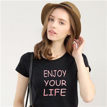 女裝口號印花圓領短袖T恤