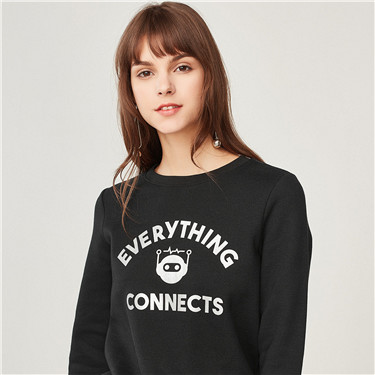 STAY IN TOUCH printed fleeced-lining pullover