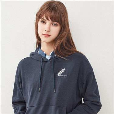 Space series embroidered loose hoodie