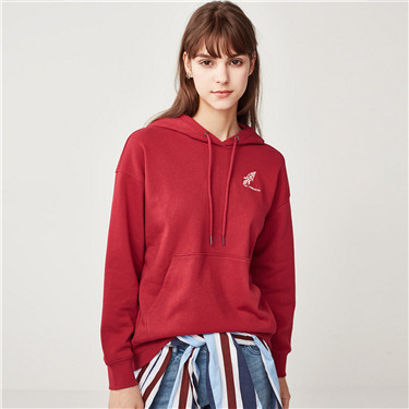 Space series embroidered loose hoodie