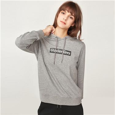 Printed letter fleeced-lining hoodie