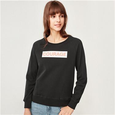 Printed raglan sleeve crewneck sweatshirt