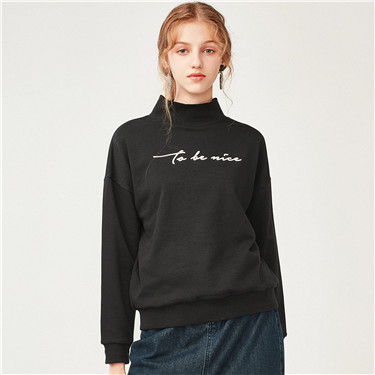 Embroidered mockneck loose pullover sweatshirt