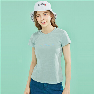 Letter printed cotton round neck short sleeve t-shirt