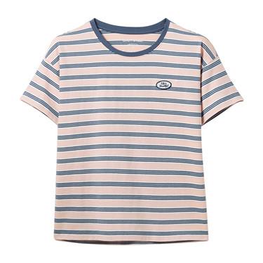 字母繡章寬松圓領短袖T恤