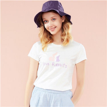 动物图案印花圆领短袖T恤
