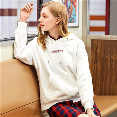 Letter embroidery loose hoodie