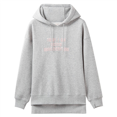 Fleeced-lining embroideried letter hoodie sweatshirt