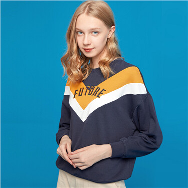 Letter drop-shoulder loose crewneck sweatshirt