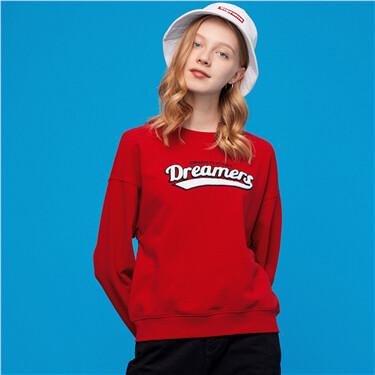 Letter drop-shoulder loose crewneck sweatshirt