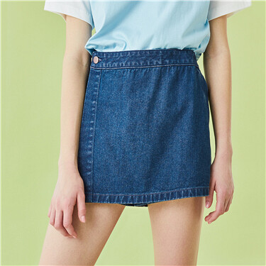 Half elastic waistband denim shorts