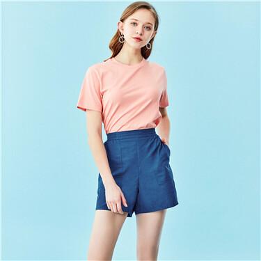 Elastic waistband pockets high rise shorts