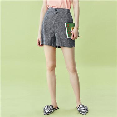 天然亚麻高腰短裤