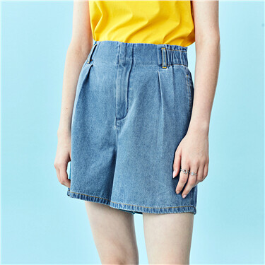 Flower bud waist high-rise denim shorts