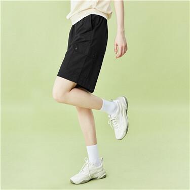 Elastic waistband with drawstring cargo shorts