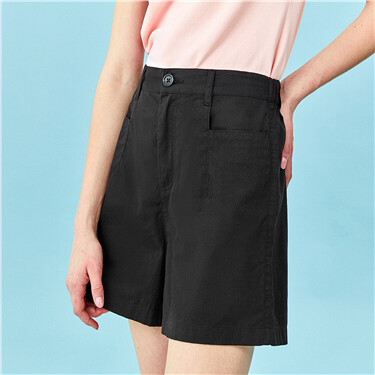 Half elastic waistband high-rise shorts