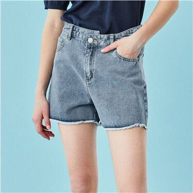 High-rise asymmetrical design denim shorts