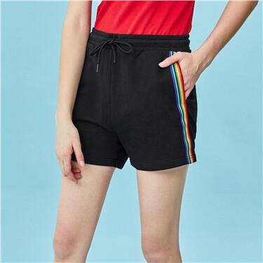 Elastic waistband with drawstring ribbon shorts