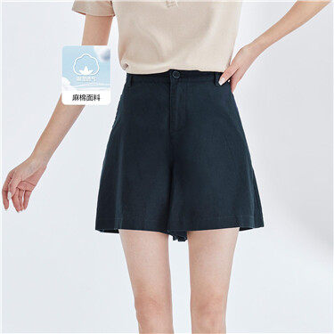 Linen-cotton half elastic waistband shorts