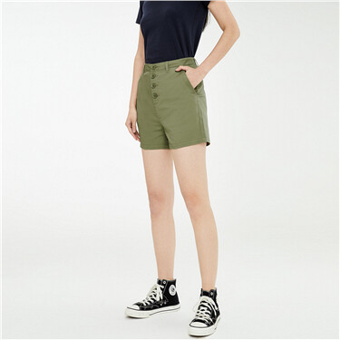 Button closure high-rise stretchy shorts