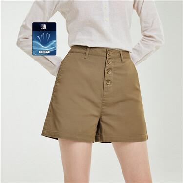 纽扣门襟弹力棉高腰薄休闲短裤
