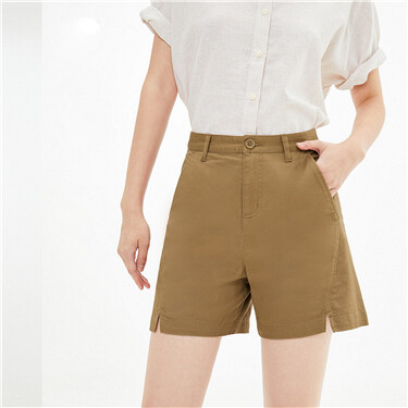 Stretch Cotton Thin Casual Shorts With Split Trousers