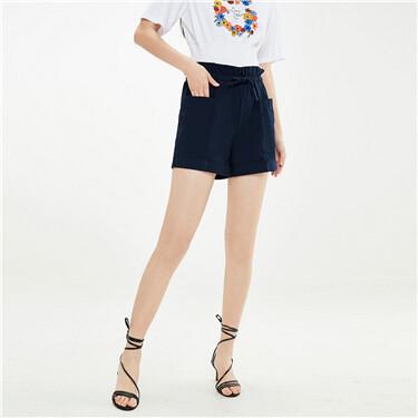 Ribbon bud waist lightweight shorts