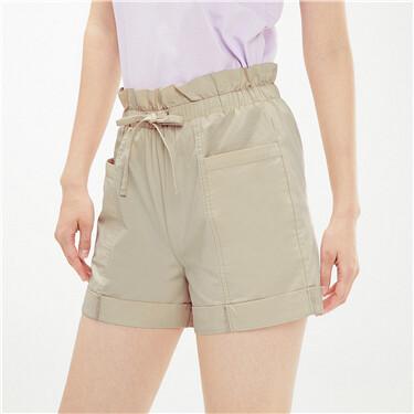 纯棉花苞腰头绑带薄休闲短裤