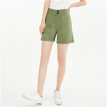 纯棉大贴袋卷边裤脚薄休闲短裤