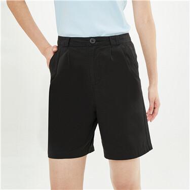 纯棉褶皱高腰薄休闲短裤