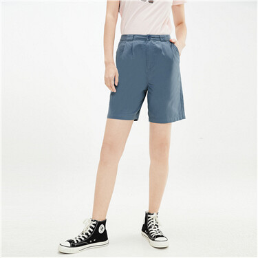 Pleated high-rise lightweight shorts