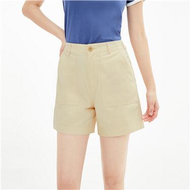 纯棉大贴袋半松紧腰薄休闲短裤