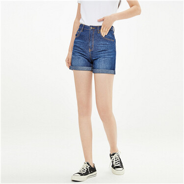 Roll-up cuffs moustache effect denim shorts