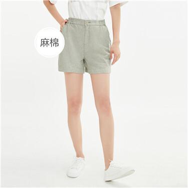 天然麻棉条纹半松紧腰休闲短裤