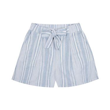 Linen-cotton A-shaped drawstring shorts