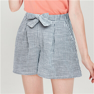 Linen-cotton A-shaped drawstring shorts