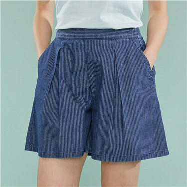 A-shaped elastic waist cotton denim shorts