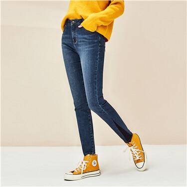 拼色裤脚猫须修身牛仔长裤
