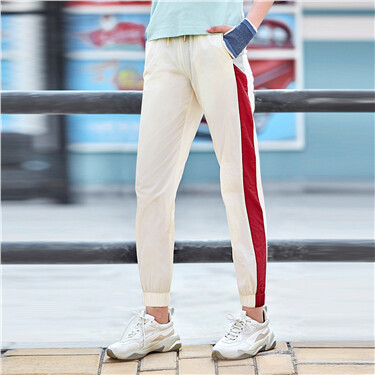 Contrast elastic waistband with drawstring joggers