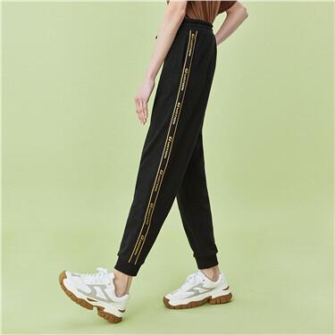 Elastic waistband strap joggers