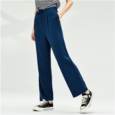 Drawstring at waist high-rise pants