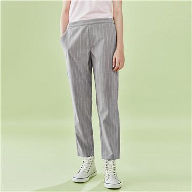 Half elastic waistband pants