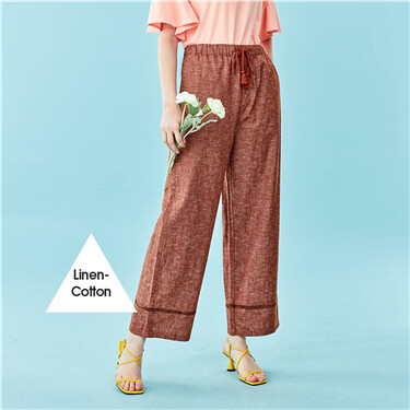 Linen-cotton high-rise wide-leg pants