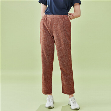 Linen-cotton ankle-length pants
