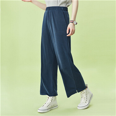 Elastic waistband modal high-rise pants
