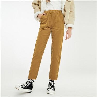 Elastic waistband corduroy pants