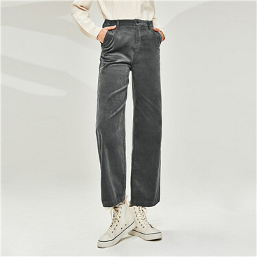 Corduroy cotton wide-leg casual pants