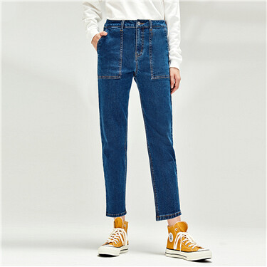 Patch pockets high rise straight jeans