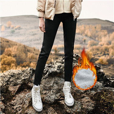 Fleece-lined stretchy slim casual pants