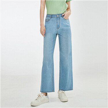 Five-pocket high-rise wide-leg jeans